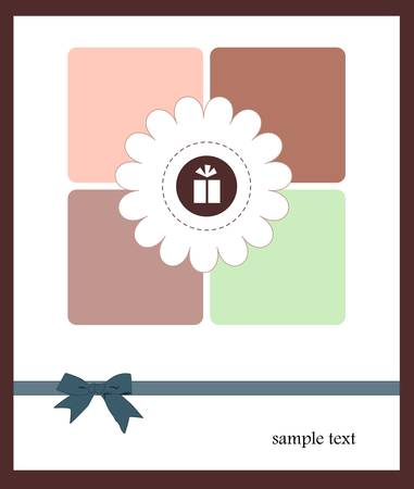Vector illustration of a card with flower and a gift in it