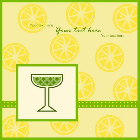 Vector illustration of a card with a glass of wine and lemon slices