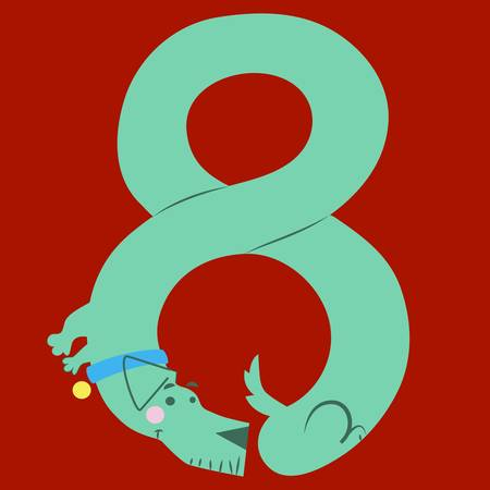eighth: Vector illustration of a cartoon dog making numbers Illustration