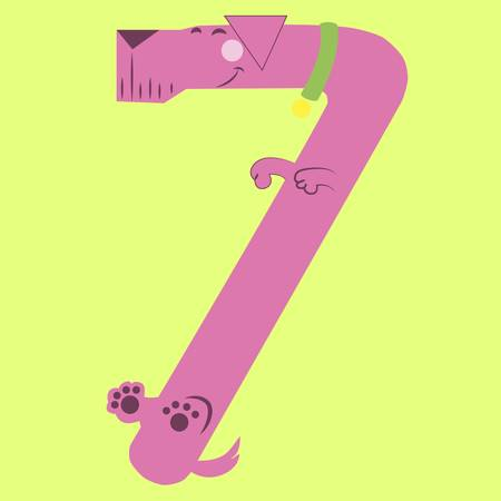 seventh: Vector illustration of a cartoon dog making numbers Illustration