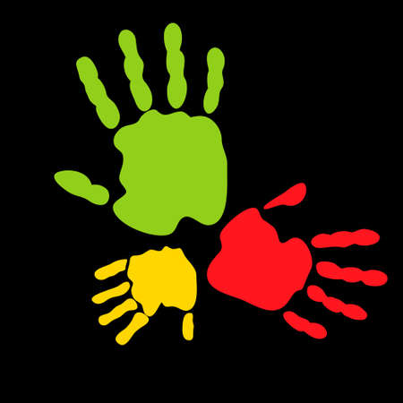 fingerprinted: Abstract vector illustration of colored hand prints