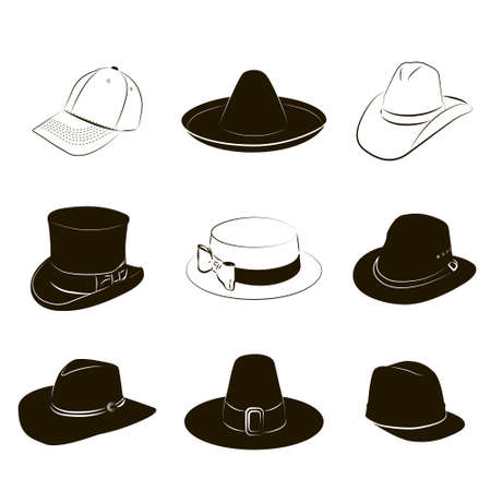 Vector set of different black and white hats photo