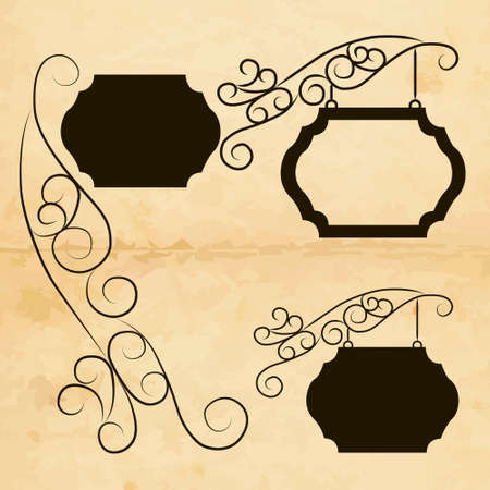 wrought: Vector set of ornamental and decoration signs Stock Photo
