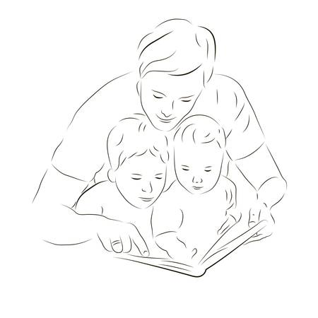 Sketchy illustration of Father and sons reading a book