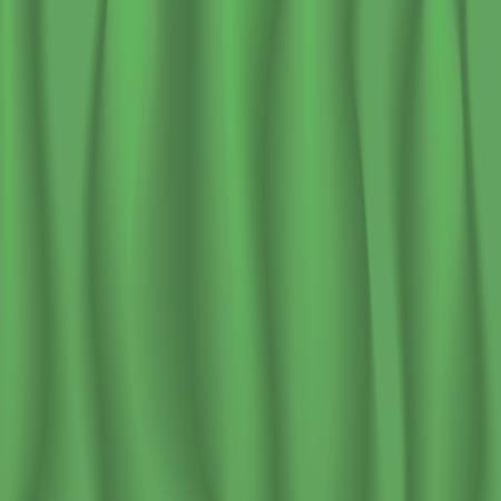 Vector illustration of a green stage curtain Vector