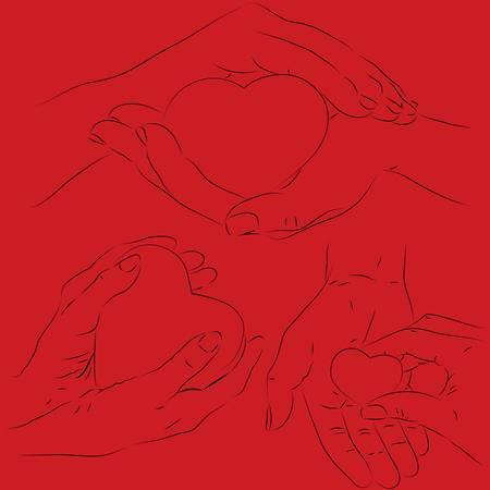 phalanx: Vector set di mani umane con un cuore
