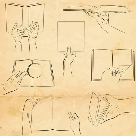 palm reading: Vector set of human hands with a book Illustration