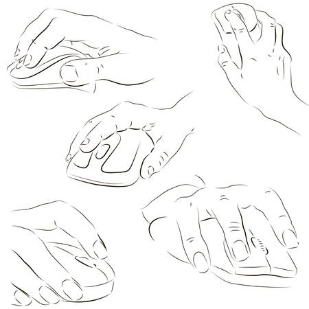 nudge: Mans and womans hands using a computer mouse