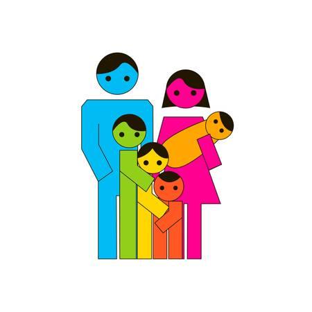 famiglia numerosa: Illustrazione vettoriale di grande icona colorata famiglia