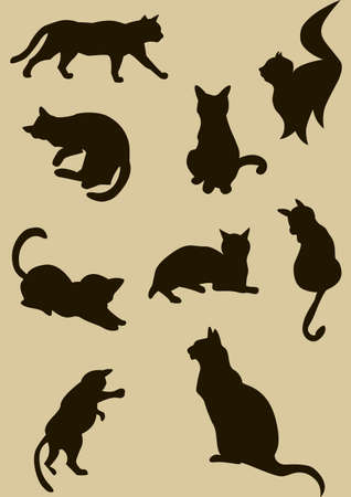 Vector illustration of cute black cats silhouettes illustration