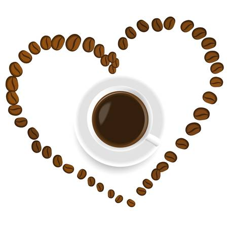 A cup of coffee inside the heart made of beans Vector