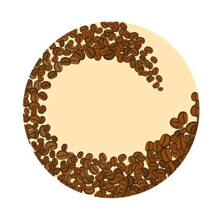 Coffee beans in a circle on white background