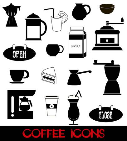illustration of coffee icons on white background