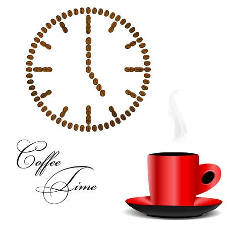 five o'clock: illustration of a watch made of coffee beans