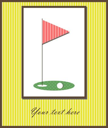 illustration of a card with flag and golf ball Vector