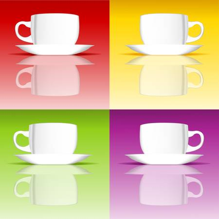 smooth surface: Four white cups on a smooth surface Illustration