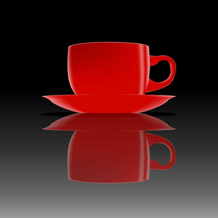 hot surface: Red hot cup of coffee on a smooth black surface