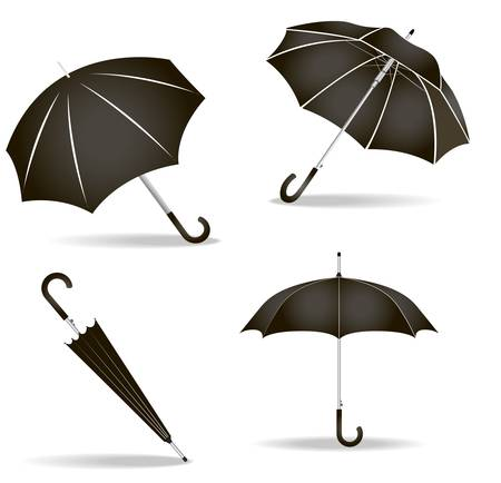 illustration of black umbrella set on white background Stock Vector - 20879300