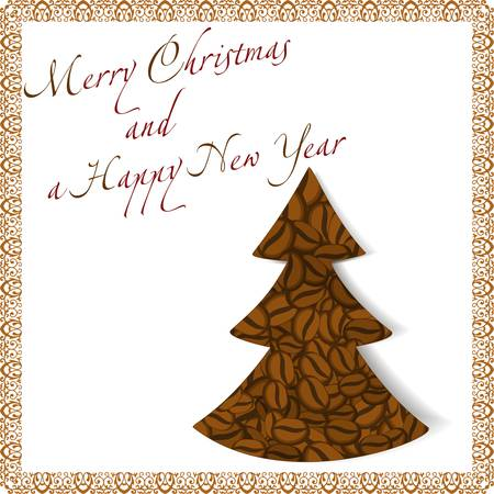 illustration of a Christmas tree made of coffee beans