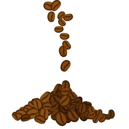 흰색 배경에 떨어지는 커피 콩의 그림 일러스트