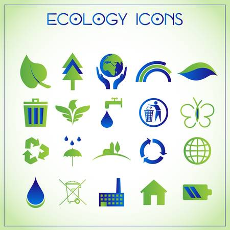 antipollution: set of ecology and recycle icons