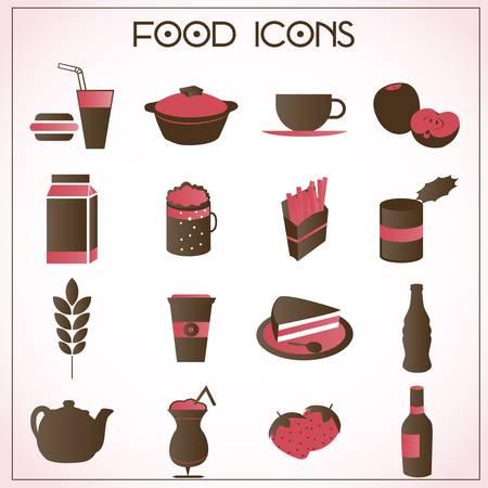 음식과 음료 아이콘의 세트 일러스트