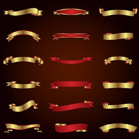 말린 붉은 색과 금색 리본 세트