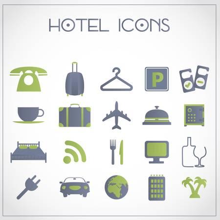 ホテルと旅行のアイコンのセット