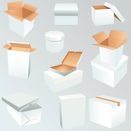 collection of recycle white box packaging Stock Vector - 20886183