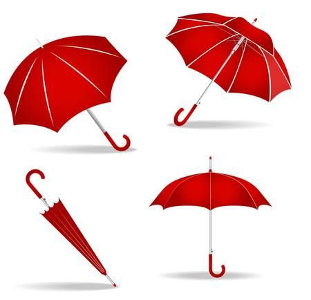 빨간 우산의 그림 흰색 배경에 설정