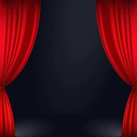 b�hnenvorhang: Illustration von einem roten B�hnenvorhang Illustration