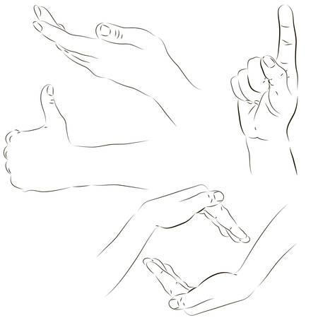 nudge: sketchy set of human hand gestures Illustration