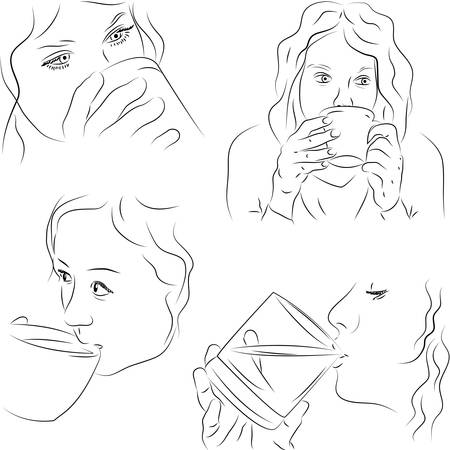 Sketchy illustration of women with cups Illustration