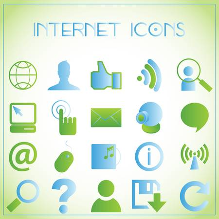 toolbar: Vector illustration of internet icons on white-green background Illustration