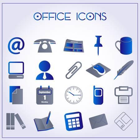 whiteblue: Vector illustration of office icons on white-blue background Illustration