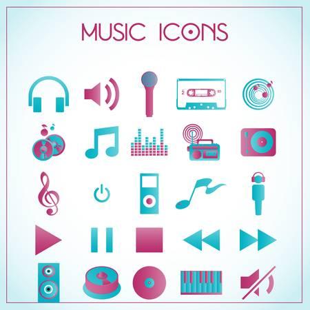 whiteblue: Vector illustration of music icons on white-blue background