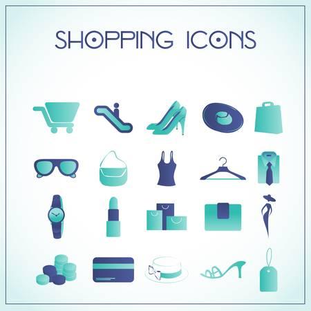 whiteblue: Vector illustration of shopping icons on white-blue background