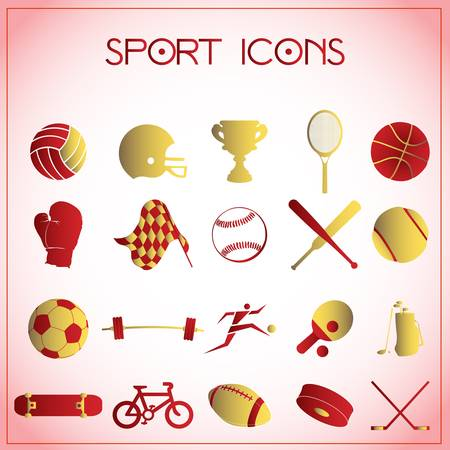 Vector illustration of sport icons on white-pink background Vector