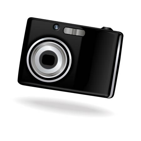 Black vector photo camera on white background