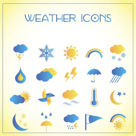 Vector illustration of weather icons on white-yellow background Vector