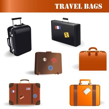 packing suitcase: Borse da viaggio di vettore hanno impostato su sfondo bianco Vettoriali