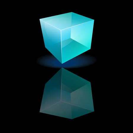 illustration of a blue glass cube Stock Vector - 22285093