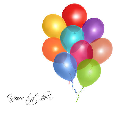 illustration of colorful glossy balloons on white background