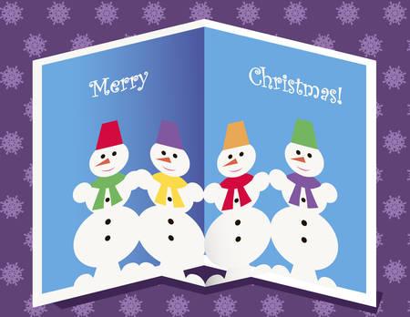 glued: Four Funny Snowmen Glued On Christmas Card