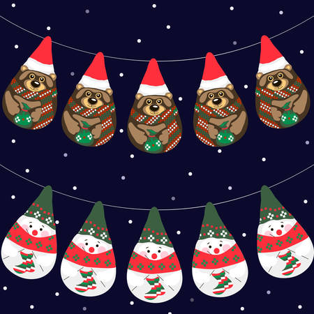 Vector illustration of Christmas garlands with snowmen and bears Vector
