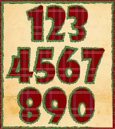 Vector illustration of Christmas numerals with pattern Vector