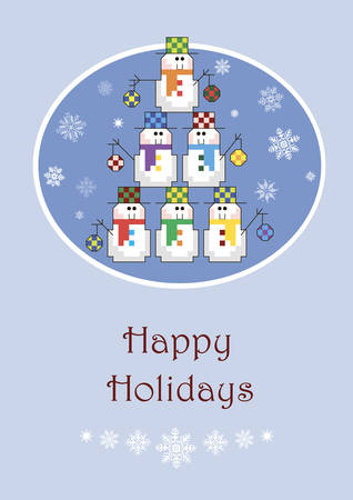 Christmas card with a tree made of snowmen Vector