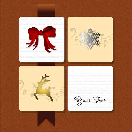 Vector illustration of a card with a ribbon, a deer and a snowflake Vector