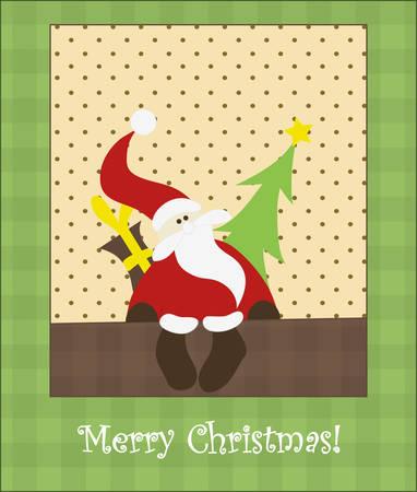 Christmas card with Santa Claus. Vector. Editable. Vector
