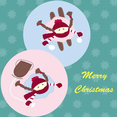 girls having fun: Nice girls with a sleigh and skis having fun